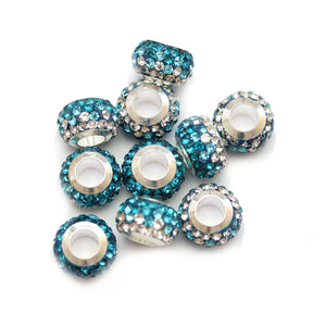 Aqua/Crystal Glass & Steel Rhinestone Micro Pave Large Hole (4mm) Rondell 7x10mm Beads
