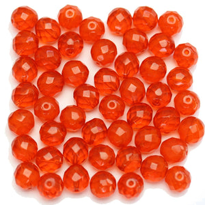 Czech Fire Polished Faceted Round 10mm Orange Beads