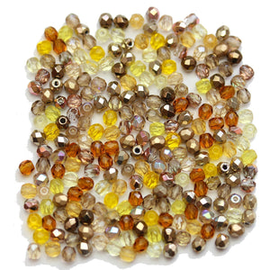 Czech Fire Polished Faceted Glass Round 3mm Topaz Mix Beads