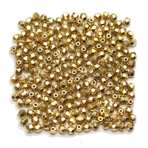 Czech Fire Polished Faceted Glass Round 3mm Real Gold Coated Beads