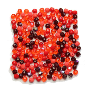 Czech Fire Polished Faceted Glass Round 3mm Red Mix Beads