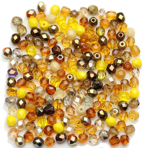 Czech Fire Polished Faceted Glass Round 4mm Topaz Mix Beads