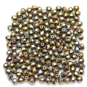 Czech Fire Polished Faceted Glass Round 4mm Dark Copper Coat Beads