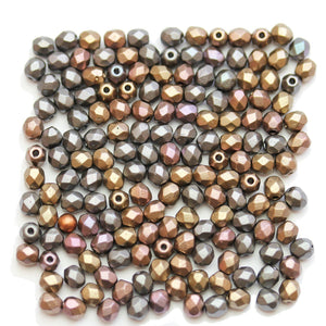 Czech Fire Polished Faceted Glass Round 4mm Multi Metallic Coat BeadsBeads by Halcraft Collection