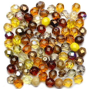 Czech Fire Polished Faceted Glass Round 6mm Topaz Mix Beads