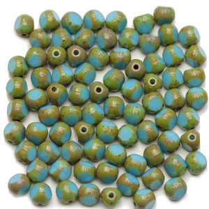 Czech Table 3 Cut Glass Travertine Edge 6mm Blue Beads