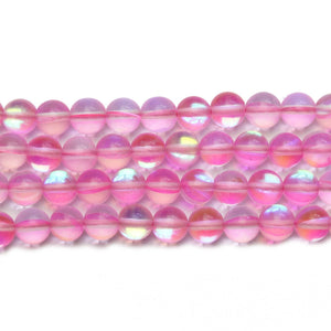Pink Inside AB Sparkle Round 6mm Beads