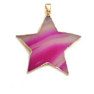Fuchsia Agate 45mm Star PendantPendant by Halcraft Collection