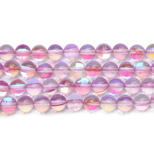 Lavender Inside AB Sparkle Round 6mm Beads