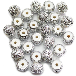 Silver Pave Acrylic Rondell 12mm Beads