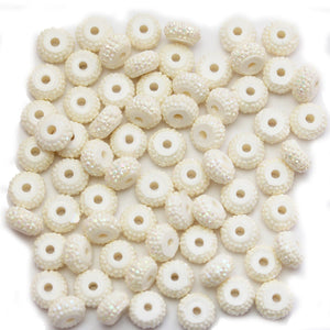 White AB Pave Acrylic Rondell 5x8mm Beads