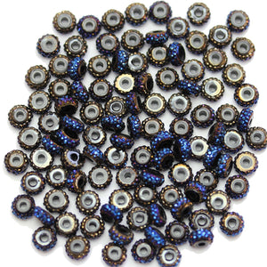 Black Iris Pave Acrylic Rondell 3.5x6mm Beads