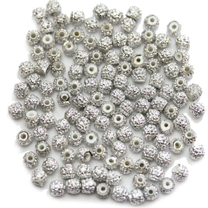 Silver Pave Acrylic Rondell 5mm Beads
