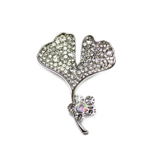 Silver Plated Leaf with Rhinestones 35x40mm PendantPendant by Halcraft Collection