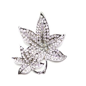 Silver Plated Leaf with Rhinestones 40mm PendantPendant by Bead Gallery