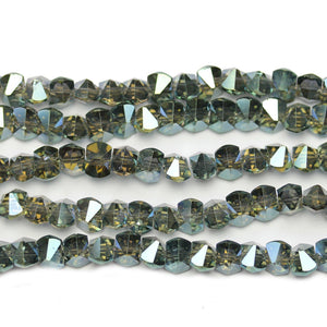 Aqua Luster Bicone Side Hole Faceted Glass 6x8mm BeadsBeads by Halcraft Collection