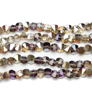 Multi Luster Bicone Side Hole Faceted Glass 6x8mm Beads