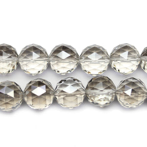 Silver Luster Coated 1/2 Crystal Glass Faceted 16mm Round Beads