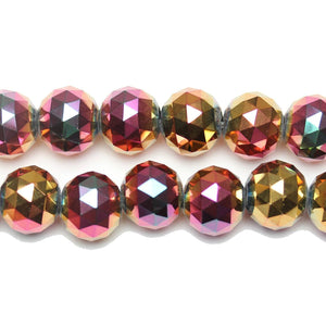 Gold Iris Coated Glass with 1/2 Magenta Iris Coat Faceted 16mm Round Beads