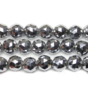 Silver Iris Coated Glass Faceted Round 14mm Beads