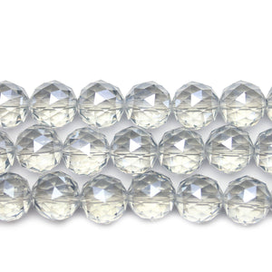 Crystal Glass Silver Luster Coated Faceted Round 14mm Beads