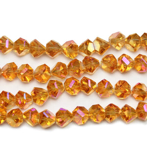 Orange Glass With Rainbow Luster Coating Diamond Faceted Round 8x10mm Beads