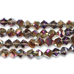 Crystal Glass With 1/2 Coat Multi Iris Diamond Faceted Round 8x10mm Beads