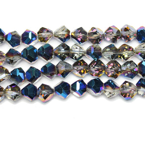 Crystal Glass With 1/2 Coat Blue Iris Diamond Faceted Round 8x10mm Beads