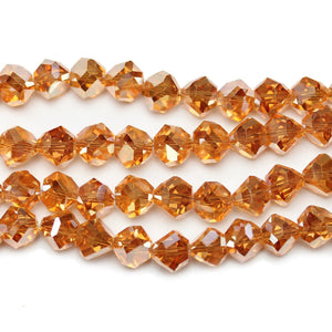 Light Orange Glass With Golden Luster Coating Diamond Faceted Round 8x10mm Beads