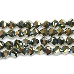 Green Iris Diamond Faceted Round Glass 8x10mm BeadsBeads by Halcraft Collection