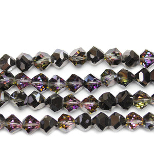 Grey Glass with Dark Amethyst Coating Diamond Faceted Round 8x10mm Beads