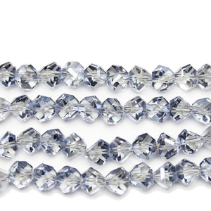 Blue Glass with Luster Coating Diamond Faceted Round 8x10mm Beads