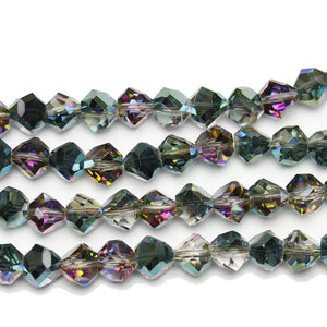 Aqua Iris Coating with 1/2 Light Amethyst Glass Diamond Faceted Round 8x10mm Beads