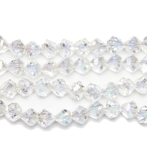 Crystal Glass with Rainbow Luster Coating Diamond Faceted Round 8x10mm BeadsBeads by Halcraft Collection