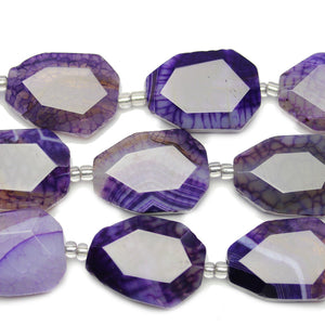 Purple Dyed Crackle Agate Faceted Nuggets Beads Approx 20x30mm