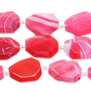 Bright Pink Dyed Crackle Agate Faceted Nugget Beads Approx 18x25mm