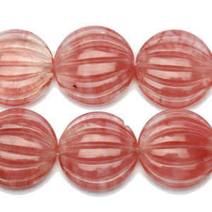 Pink Glass Simulated Cherry Quartz Stone Melon Disk Beads 30mm