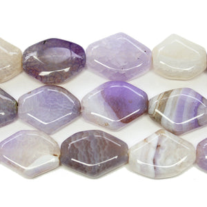 Light Purple Dyed Crackle Agate Polished Stone Rounded Diamond 20x30mm BeadsBeads by Halcraft Collection