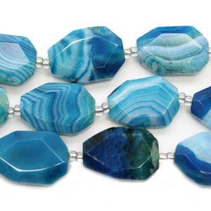 Aqua Dyed Crackle Agate Faceted Nugget Beads Approx 18x25mm