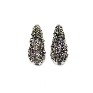 Filigree Flower Teardrop Silver Plated Antique 15x30mm Beads