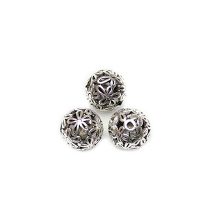 Filigree Flower Silver Plated Antiqued 15mm Round Beads