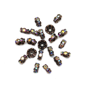 Copper Tone Rondell with Crystal AB Rhinestones 4x8mm BeadsBeads by Halcraft Collection