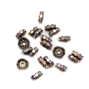 Copper Tone Rondell with Crystal AB Rhinestones 4x10mm Beads