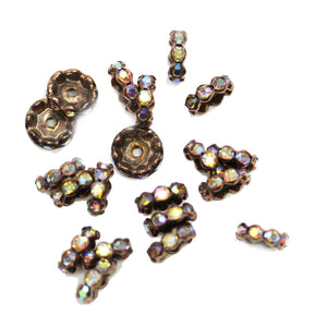 Copper Tone Rondell with Crystal AB Rhinestones 4x12mm BeadsBeads by Halcraft Collection