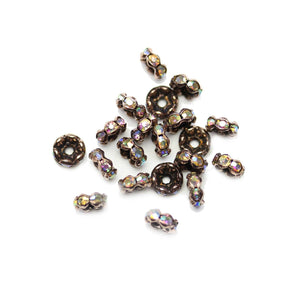 Copper Tone Rondell with Crystal AB Rhinestones 4x6mm BeadsBeads by Halcraft Collection