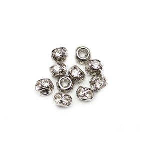 Silver Tone Rondell with Crystal Rhinestones 7x10mm Beads