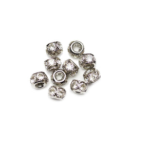 Silver Tone Rondell with Crystal Rhinestones 5x7mm Beads