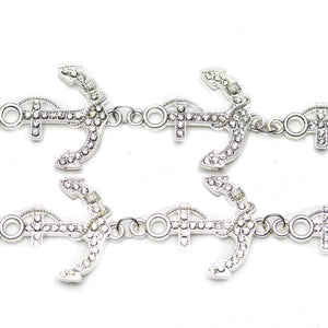 Silver Tone Anchor with Crystal Rhinestones 28x38mm ConnectorConnector by Bead Gallery