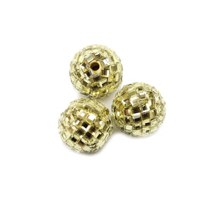 Gold Backed Round Glass Rhinestones on Resin 18mm Beads