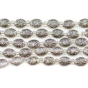 Silver Plated Zinc Alloy High Detail Oval 8x10mm Beads